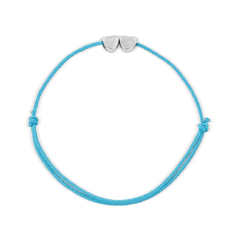 Bracelet cordon deux motifs coeur Argent 925