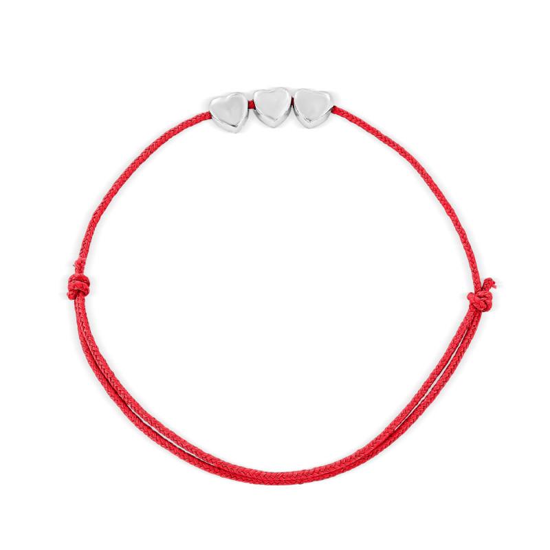 Bracelet cordon trois motifs coeur Argent 925