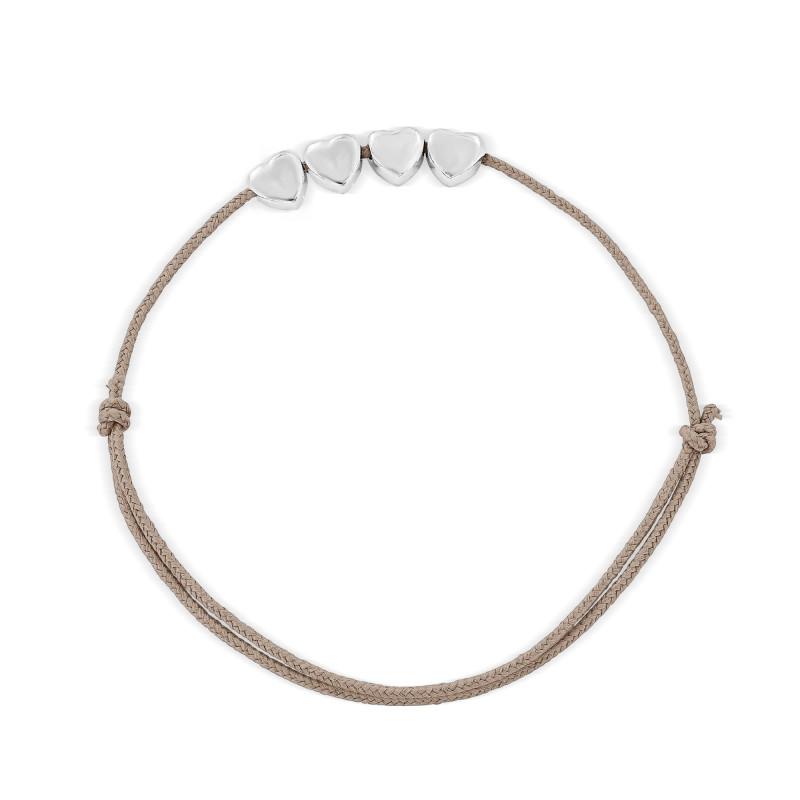Bracelet cordon quatre motifs coeur Argent 925
