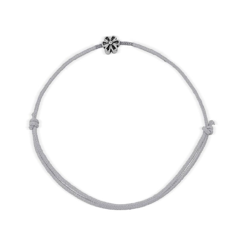 Bracelet cordon motif fleur Argent 925