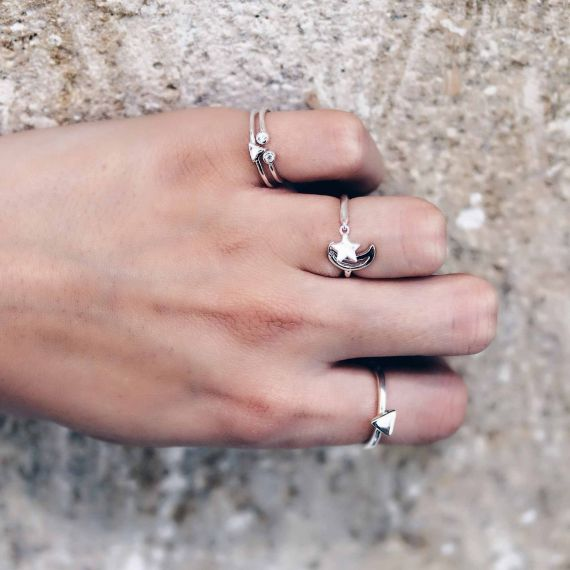 Silver star moon ring