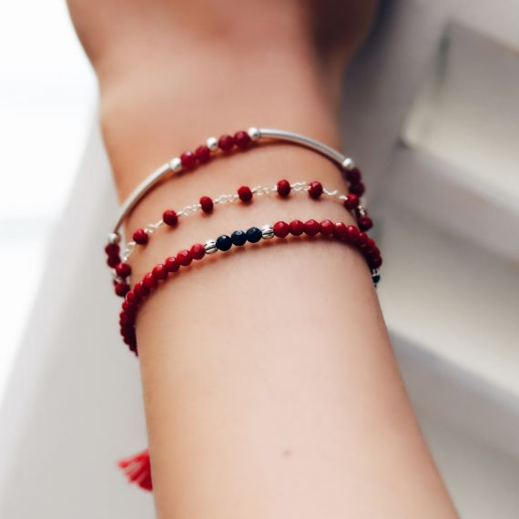 Sterling silver multi layer rhodium red tassel bracelet