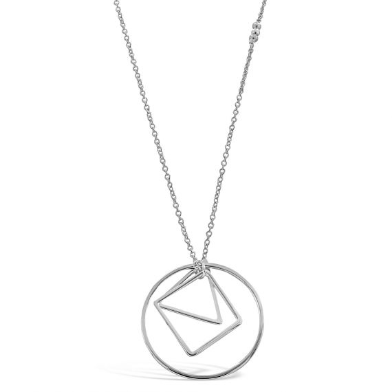 Sterling silver triangle square circle necklace