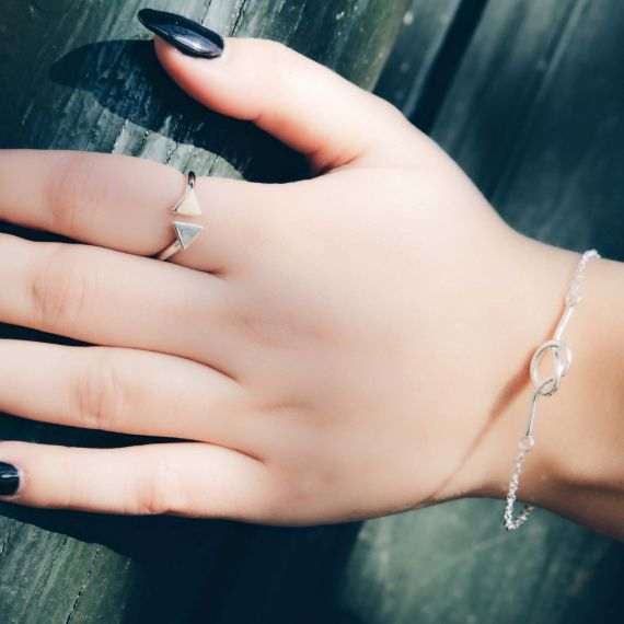 Silver twin triangle ring