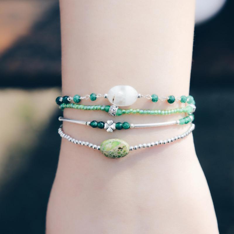 Sterling silver elastic green Jaspe stone bracelet