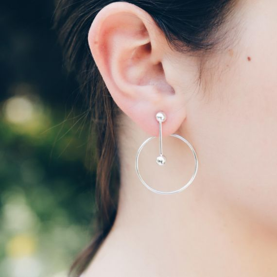 Ball circle sterling silver earrings