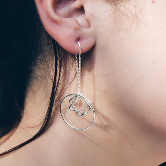 Square triangle circle earrings