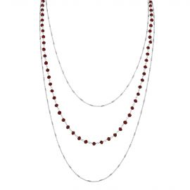 COLLIER 3 RANGS+AGATES ROUGES AG
