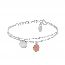 Sterling silver and pink vermeil multi layer Aglaé bracelet