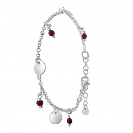 Bracelet agate rouge avec pastille