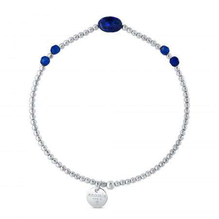Bracelet élastique billes 2mm lapis ovale