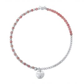 BRACELET ELAST. BILLE 2MM/PIERRES ROSE LUNE AG