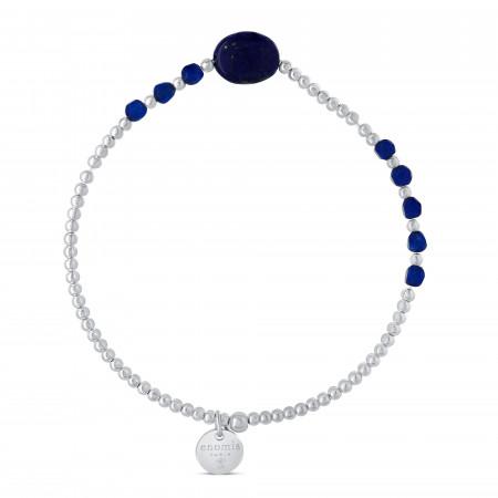 Bracelet élastique billes 2mm lapis ovale et billes lapis