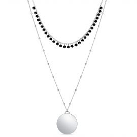 COLLIER 2 RANGS SPINELLES NOIRES+PASTILLE GM AG