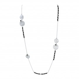 Flower sterling silver long necklace