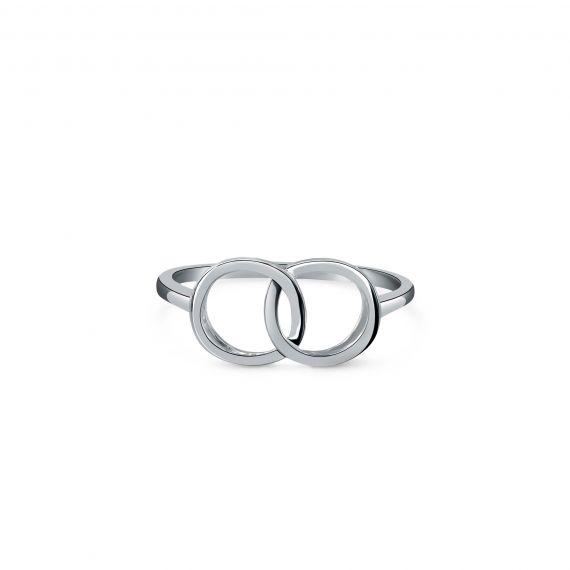 Silver double circle ring