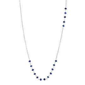 Sterling silver blue agate long necklace