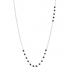 Sterling silver black agate long necklace