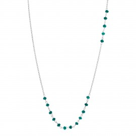 Sterling silver green agate long necklace
