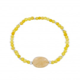 Yellow jade sterling silver bracelet