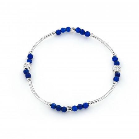 Sterling silver blue elastic bracelet