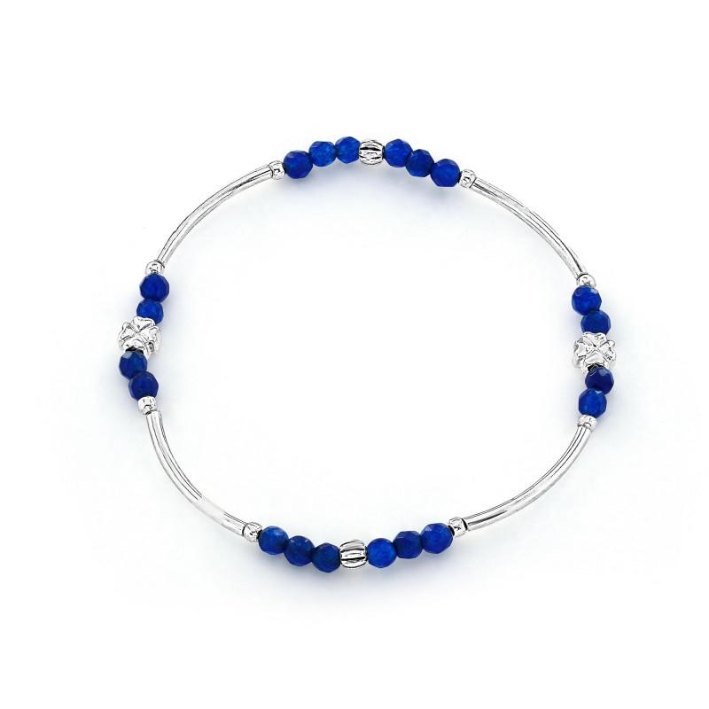 Bracelet Argent 925 élastique bleu