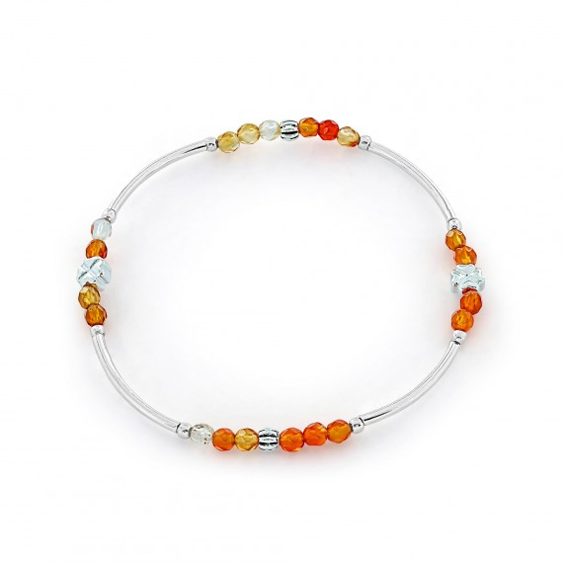 Bracelet Argent 925 élastique orange