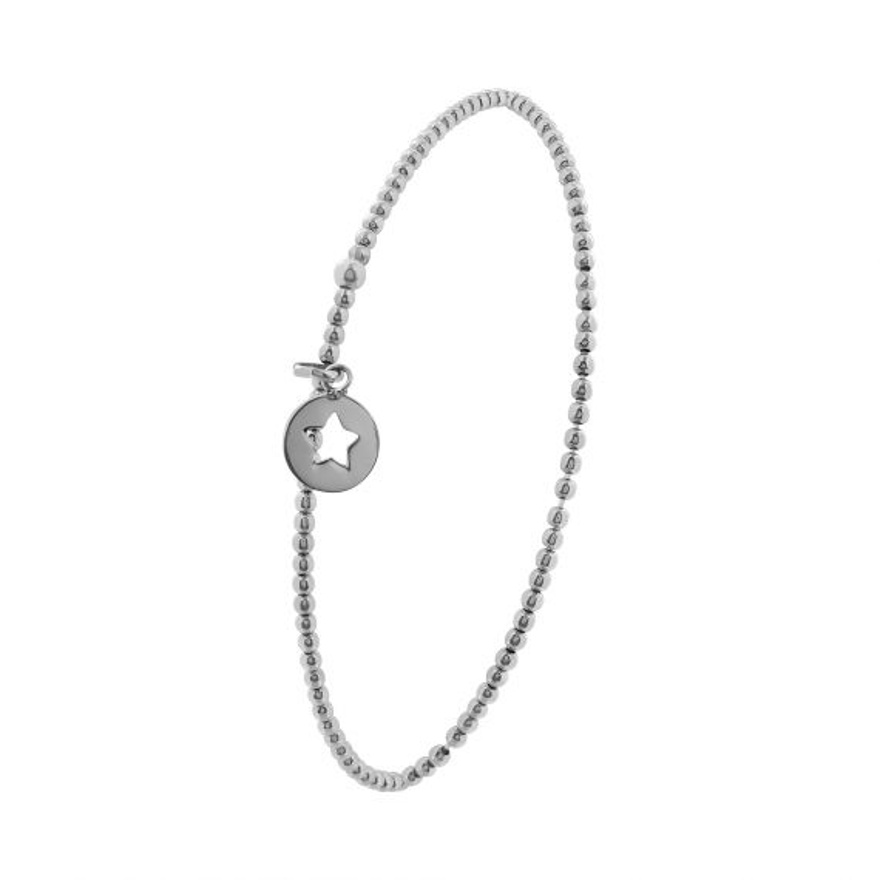 Bracelet élastique Argent 925 motif pastille étoile