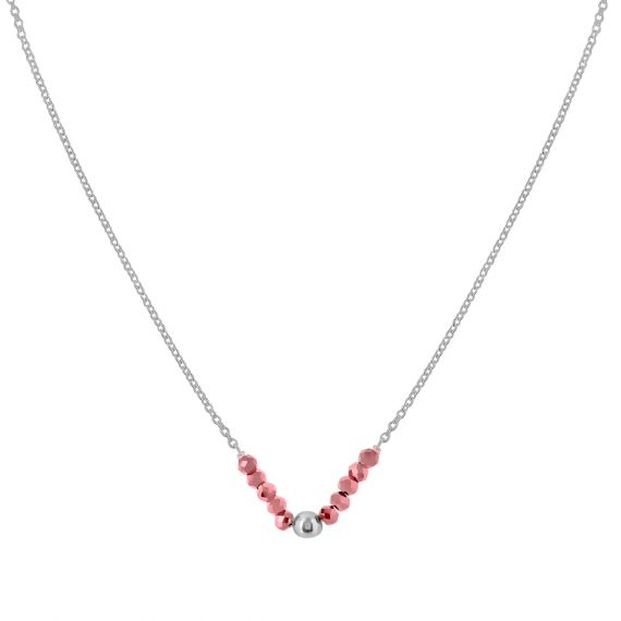 Collier Argent 925 agate rose perle