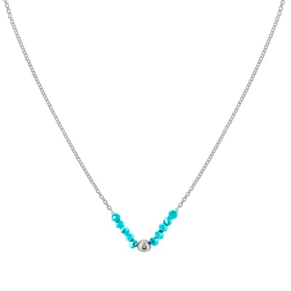 Collier Argent 925 agate turquoise perle