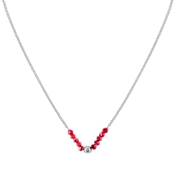 Collier Argent 925 agate rouge perle