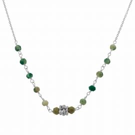 Naga sterling silver emerald green agate necklace