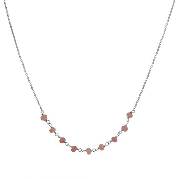 Collier Argent 925 agate rose
