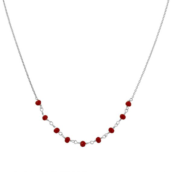 Collier Argent 925 agate rouge
