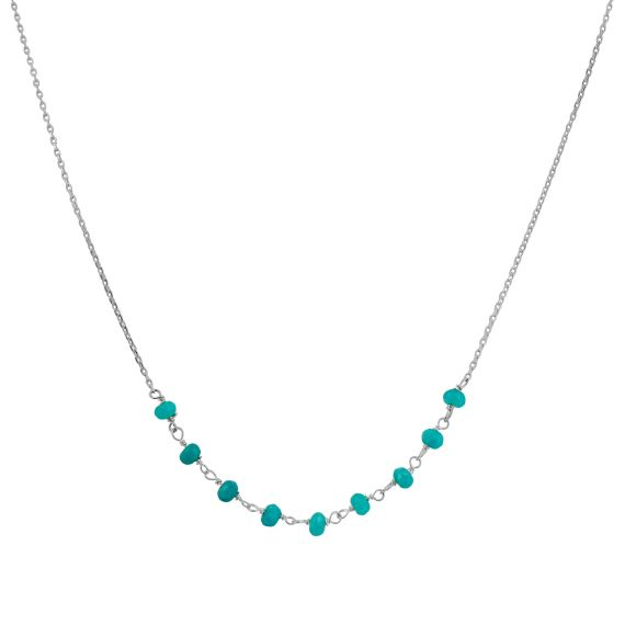 Collier Argent 925 agate turquoise