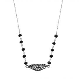 Sterling silver black spinel feather necklace
