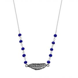 Sterling silver blue agate feather necklace