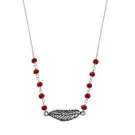 Collier Argent 925 plume agate rouge