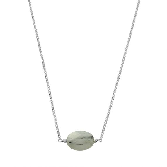 Collier Argent 925 rutile grise ovale